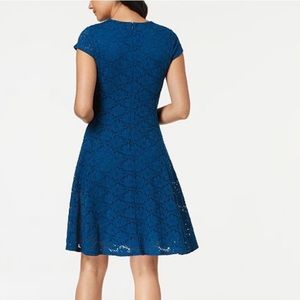 NWT Alfani Blue Lace Fit & Flare Dress In Size 10